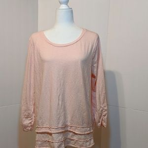 New Directions 100% Cotton Peach/White Top XL